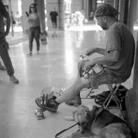 Street-Player-with-his-dog